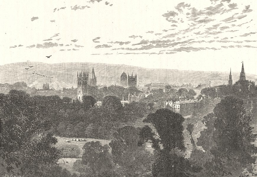OXFORDSHIRE. Oxford, from Headington Hill 1901 old antique print picture