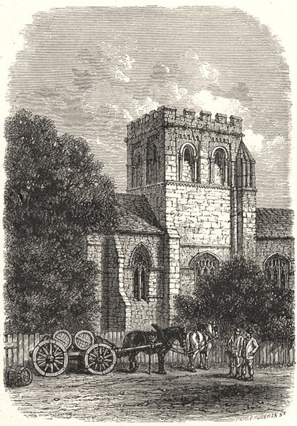 OXFORDSHIRE. Iffley church 1901 old antique vintage print picture