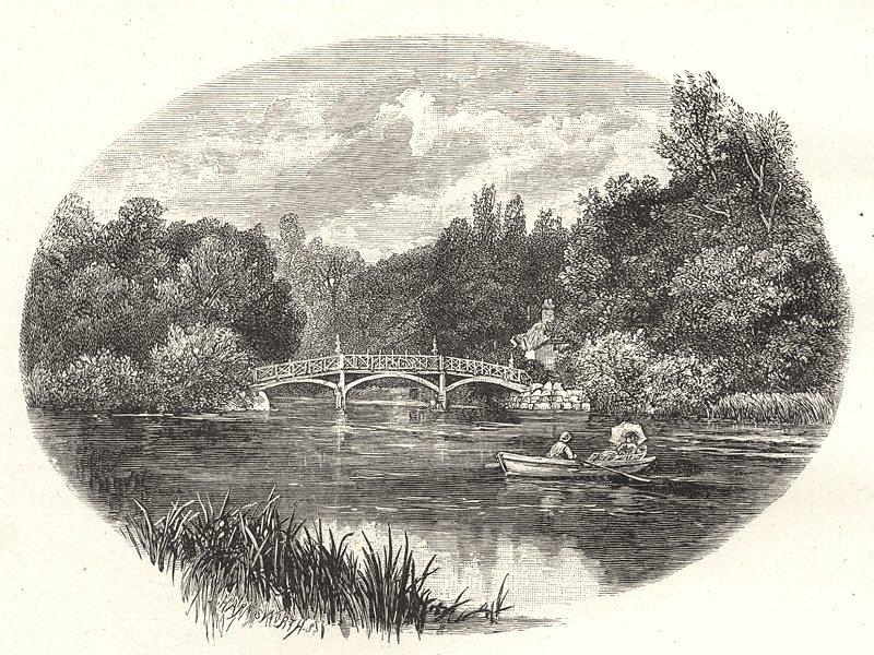 Associate Product OXFORDSHIRE. The bridge and cottage, Nuneham 1901 old antique print picture