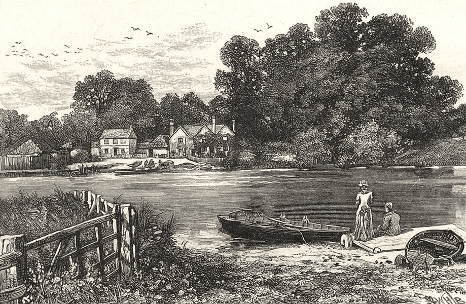 OXFORDSHIRE. Moulsford ferry 1901 old antique vintage print picture