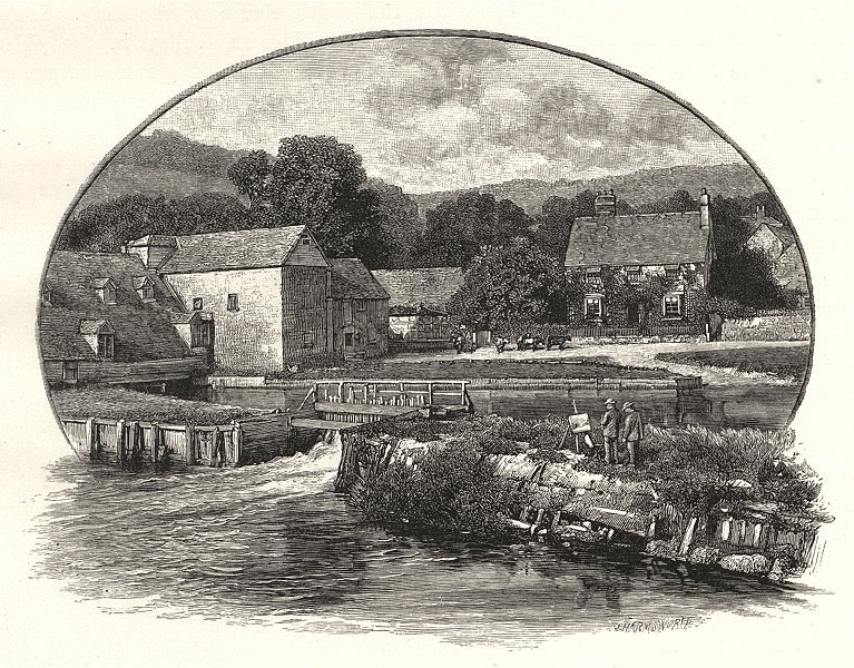 BERKSHIRE. Streatley mill 1901 old antique vintage print picture