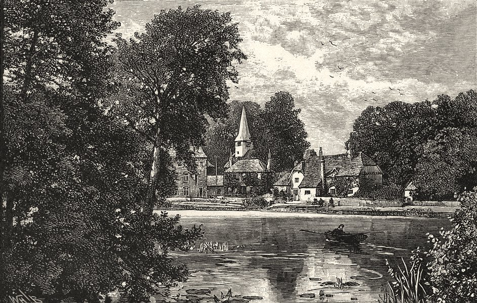 Associate Product OXFORDSHIRE. Whitchurch church and mill 1901 old antique vintage print picture