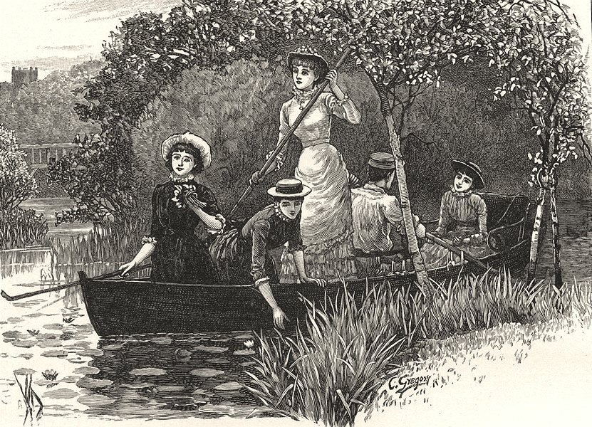 BERKSHIRE. Backwater at Wargrave. A Pool of Water- Lilies 1901 old print