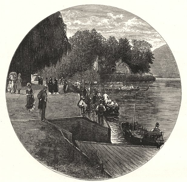 Associate Product BERKSHIRE. The Landing- stage, Ray mead 1901 old antique vintage print picture