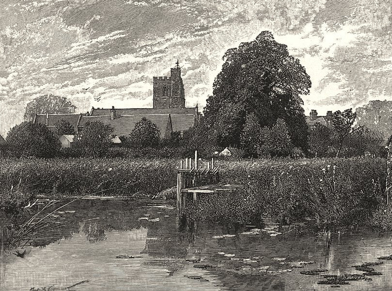 Associate Product BERKSHIRE. Bray church 1901 old antique vintage print picture