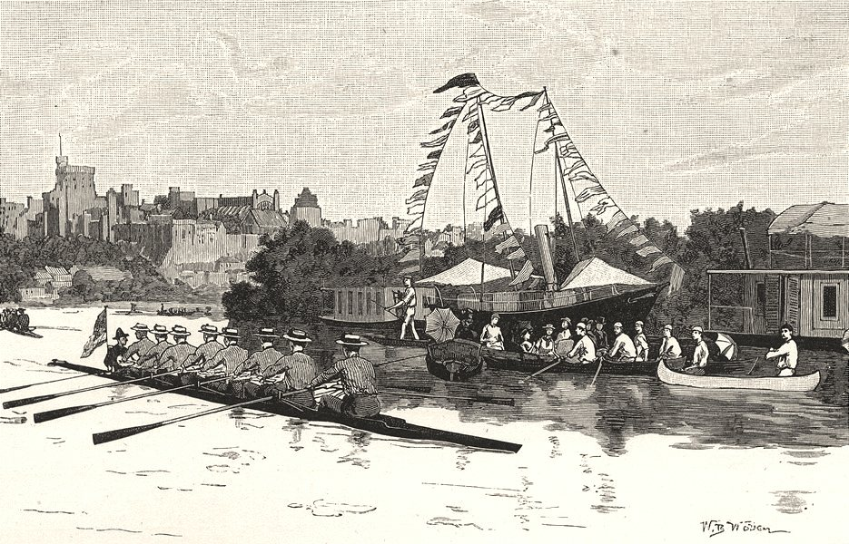 Associate Product BERKSHIRE. Procession of the boats, Eton 1901 old antique print picture