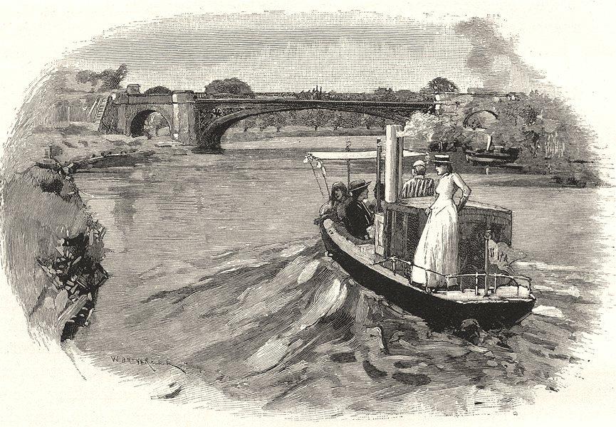 Associate Product BERKSHIRE. The Albert bridge 1901 old antique vintage print picture