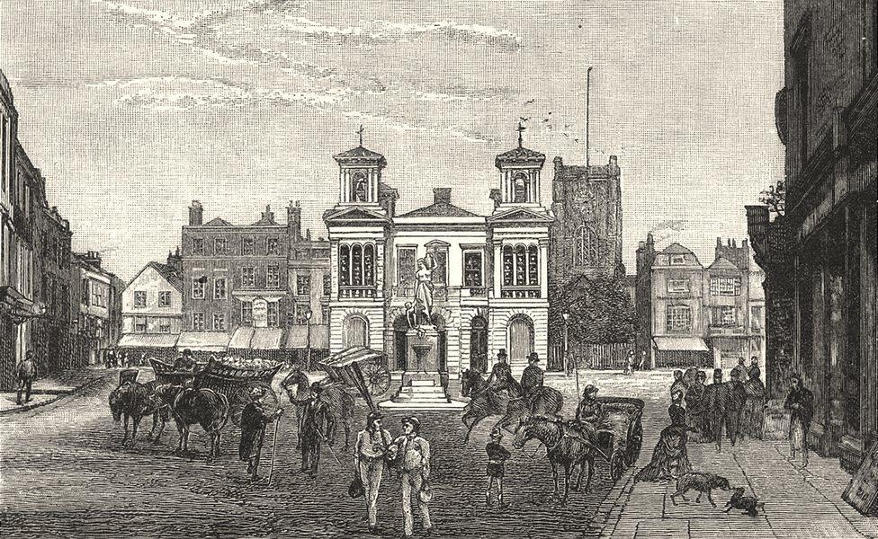 LONDON. The Market- Place, Kingston 1901 old antique vintage print picture