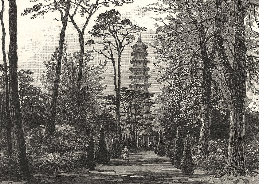LONDON. The Pagoda in Kew Gardens 1901 old antique vintage print picture
