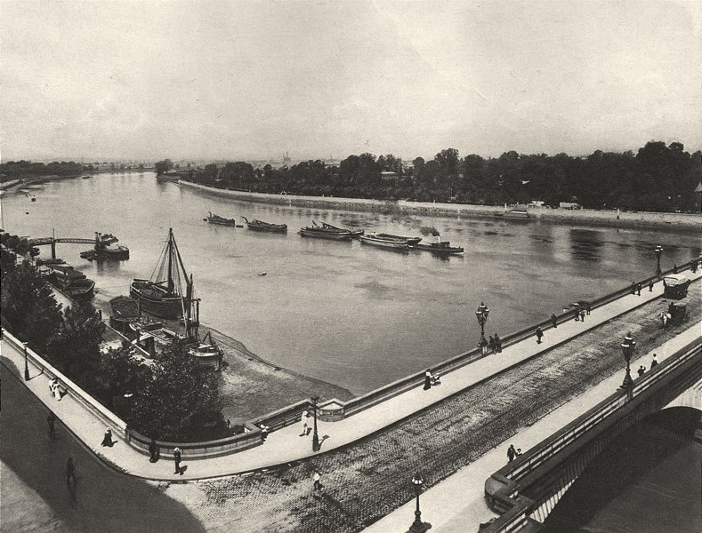 Associate Product LONDON. View up the Thames from the Tower of Putney Church 1901 old print