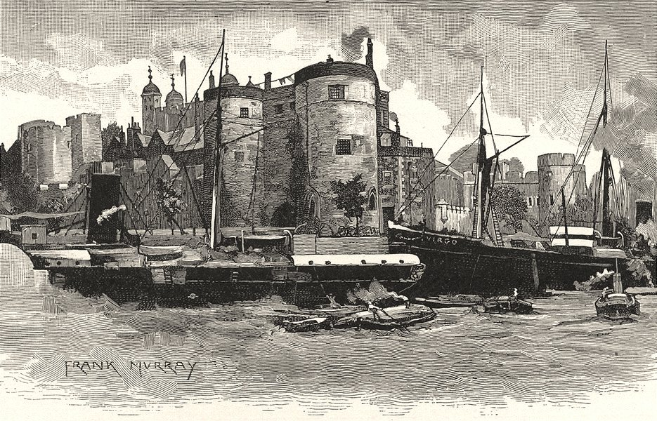 Associate Product LONDON. The Tower, from the river 1901 old antique vintage print picture