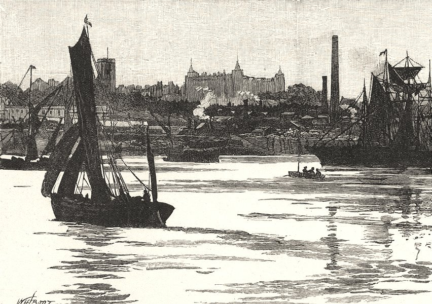 Associate Product LONDON. Woolwich 1901 old antique vintage print picture