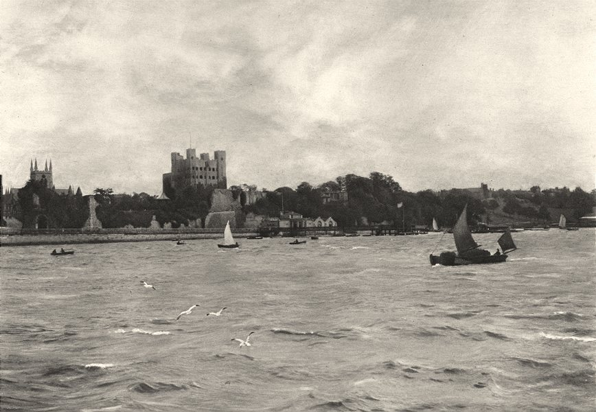 Associate Product KENT. The Medway at Rochester with the Castle and the Cathedral 1901 old print