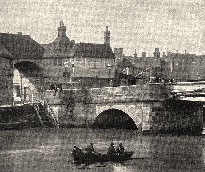 Associate Product KENT. Sandwich. The Old Bridge and Barbican 1901 antique print picture