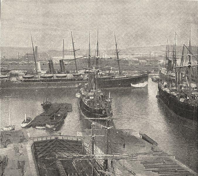 HAMPSHIRE. Southampton Docks 1901 old antique vintage print picture