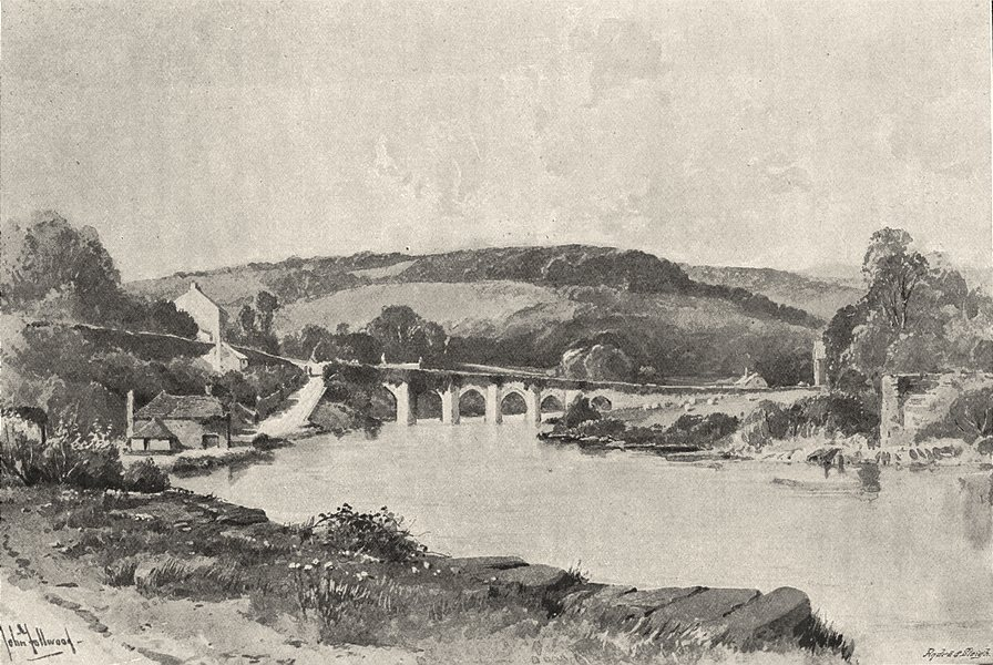 DEVON. Tavistock New Bridge 1901 old antique vintage print picture