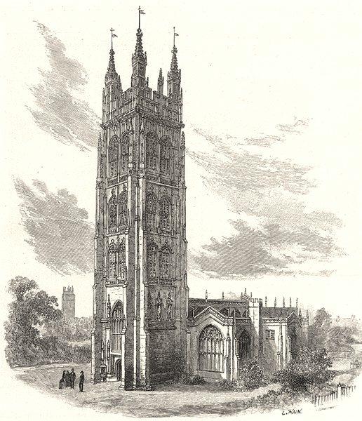SOMERSET. Taunton church 1901 old antique vintage print picture