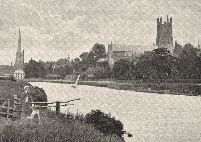 Associate Product WORCESTERSHIRE. Worcester Cathedral, from the Severn 1901 old antique print