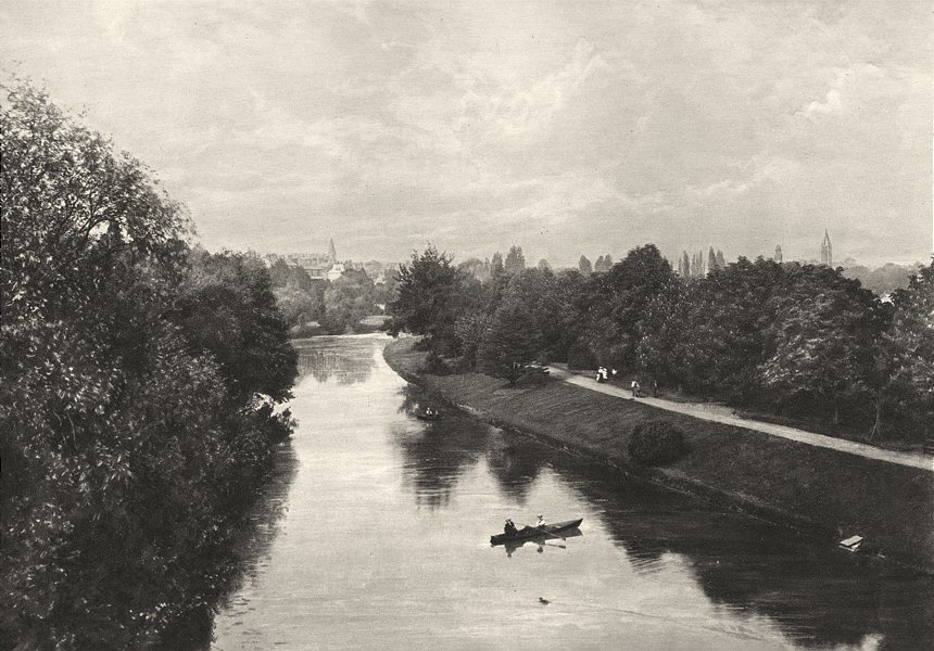 Associate Product WARWICKSHIRE. The Leam at Leamington 1901 old antique vintage print picture