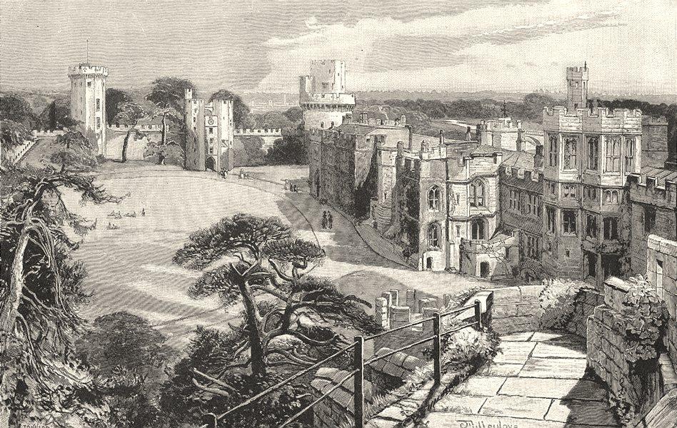 Associate Product WARWICKSHIRE. Warwick Castle 1901 old antique vintage print picture