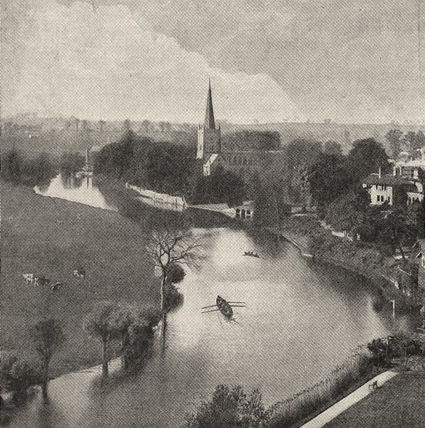 Associate Product WARWICKSHIRE. The Avon at Stratford 1901 old antique vintage print picture
