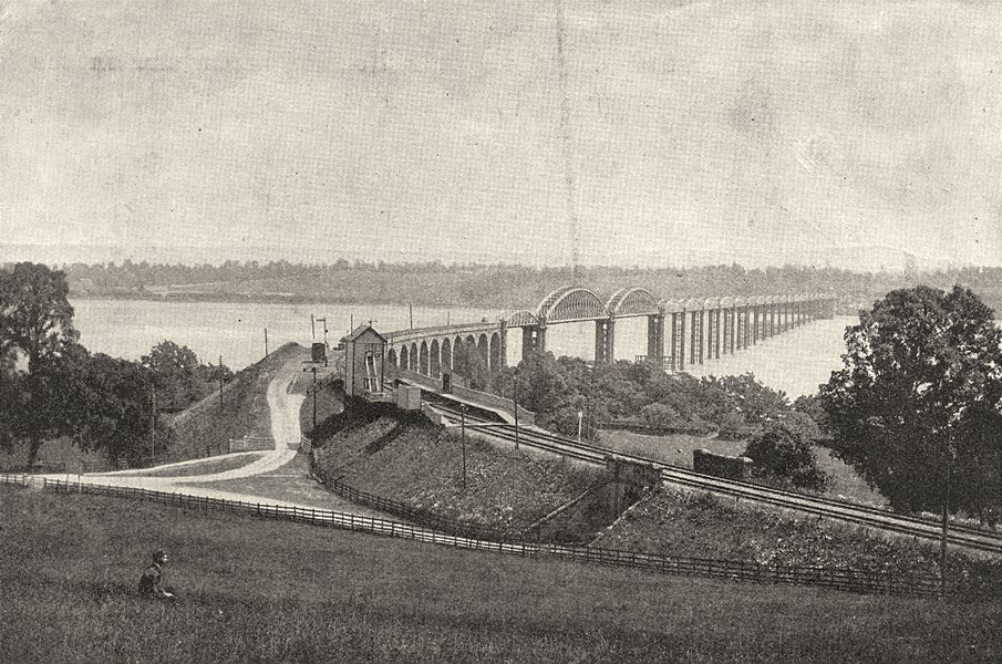 Associate Product GLOUCESTERSHIRE. The Severn bridge, Sharpness 1901 old antique print picture