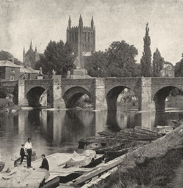 Associate Product HEREFORDSHIRE. The Wye bridge and Hereford Cathedral 1901 old antique print