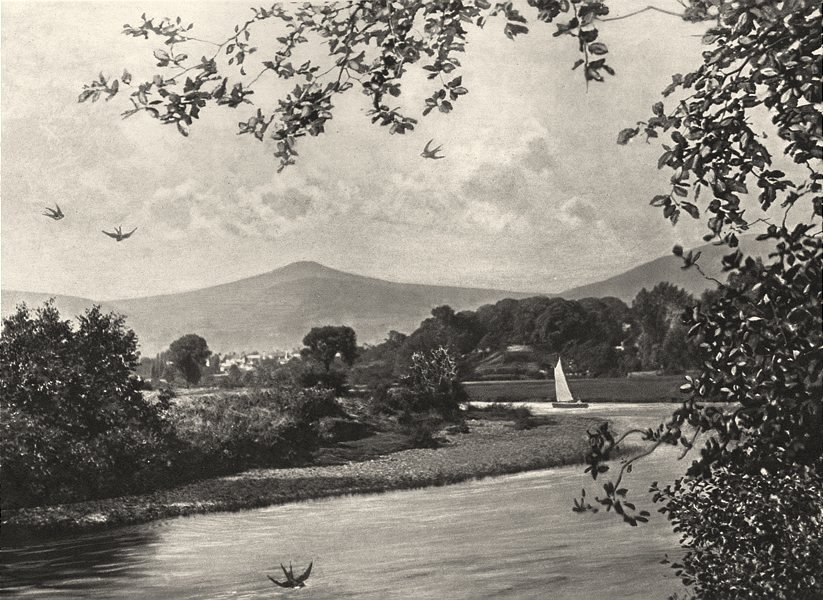 WALES. Usk, Abergavenny; With Sugar- loaf mountain 1901 old antique print