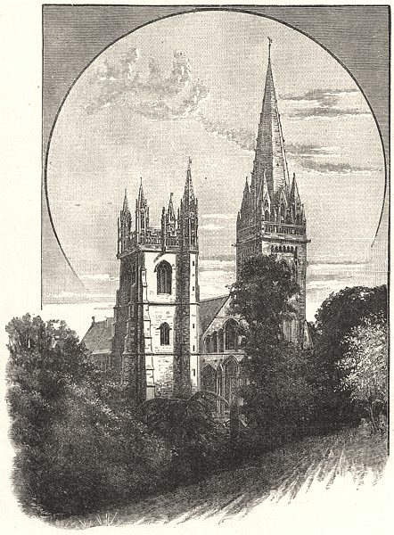 Associate Product WALES. Llandaff Cathedral. The West Front 1901 old antique print picture