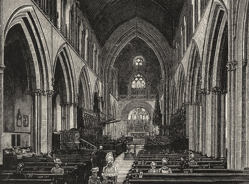 Associate Product WALES. Llandaff Cathedral. The Nave and Choir 1901 old antique print picture