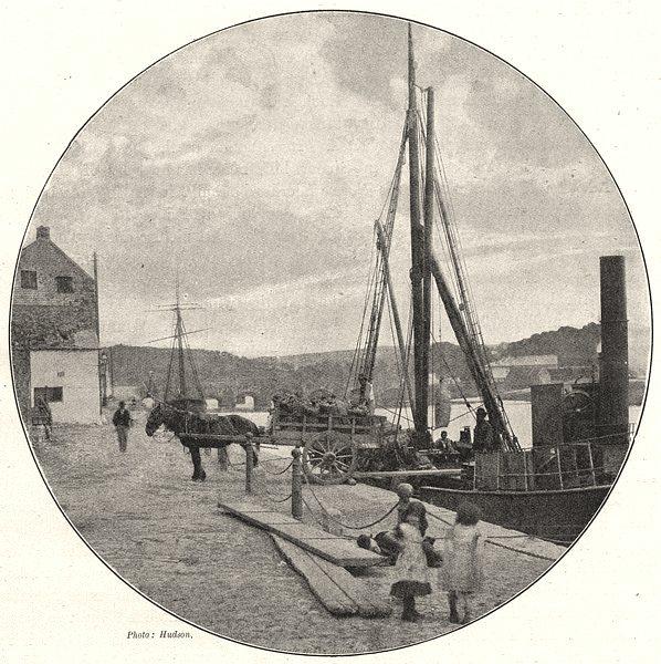 WALES. Carmarthen Quay 1901 old antique vintage print picture