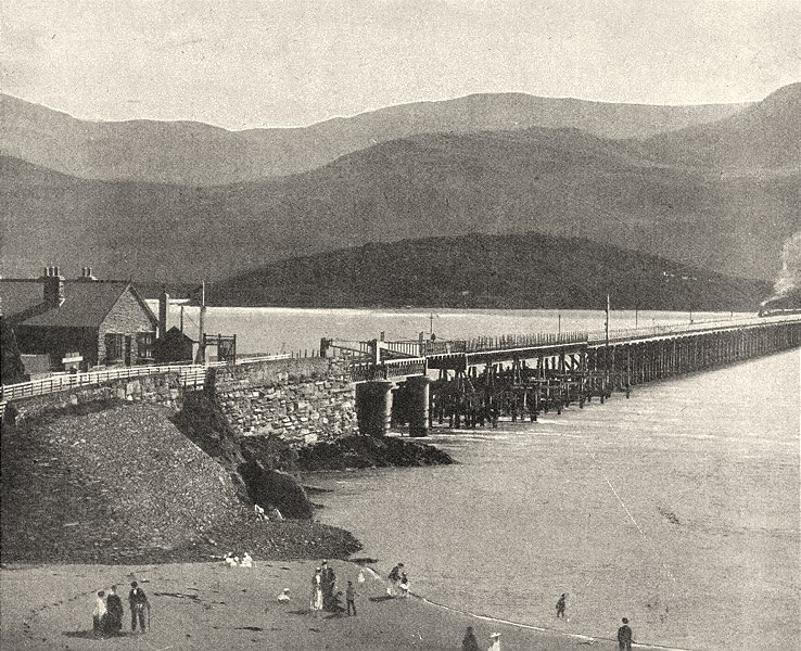 WALES. Barmouth bridge and Cader Idris 1901 old antique vintage print picture
