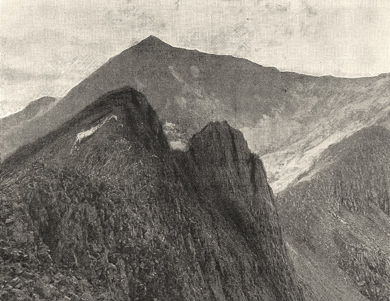 Associate Product WALES. Snowdon, from Crib- goch 1901 old antique vintage print picture