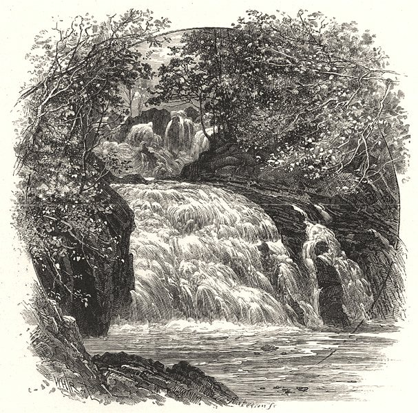 Associate Product WALES. The Swallow Falls 1901 old antique vintage print picture