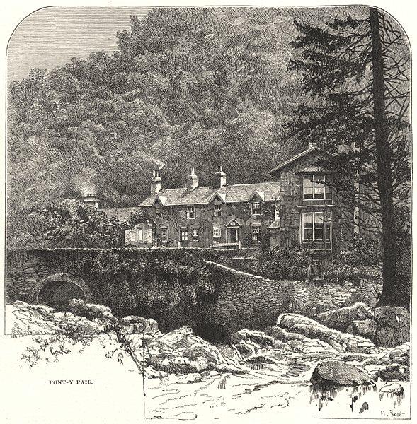 WALES. Pont- y- pair 1901 old antique vintage print picture