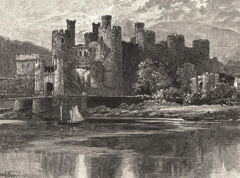 WALES. Conwy Castle 1901 old antique vintage print picture