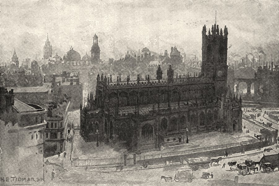 Associate Product LANCASHIRE. Manchester, Grammar school, cathedral, exchange, town Hall 1901