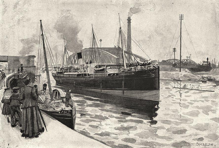 Associate Product LANCASHIRE. Steamer passing through Trafford road Swing bridge 1901 old print