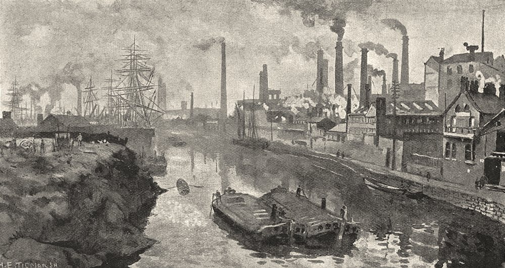 LANCASHIRE. The Irwell at Ordsall, with Worrall's works 1901 old antique print