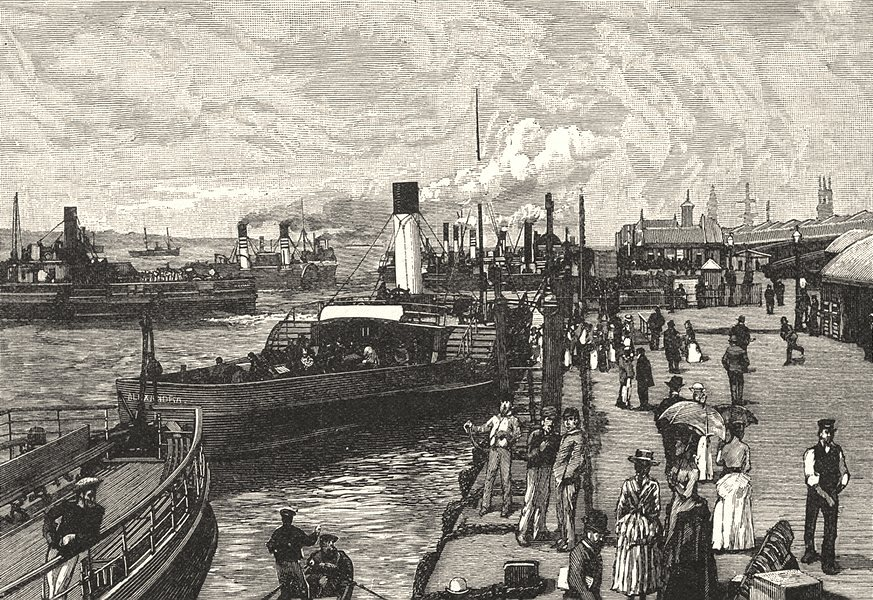 LIVERPOOL. St. George's Landing- stage, Liverpool 1901 old antique print