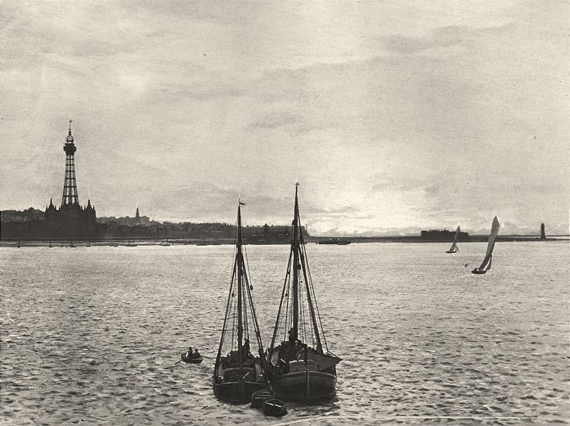 Associate Product LANCASHIRE. The Mersey New Brighton 1901 old antique vintage print picture