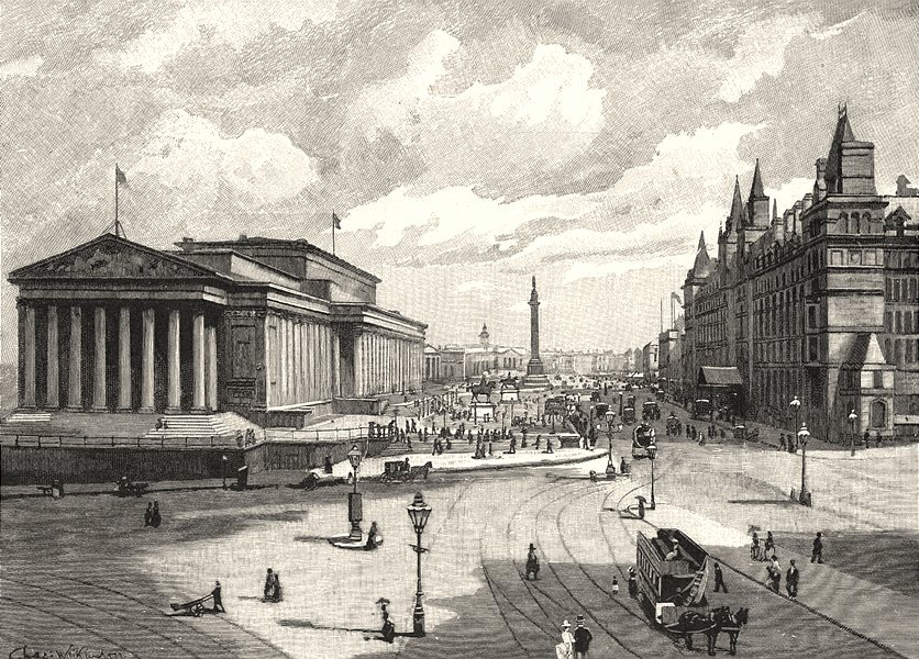 Associate Product LIVERPOOL. St. George's hall and Lime street, Liverpool 1901 old antique print