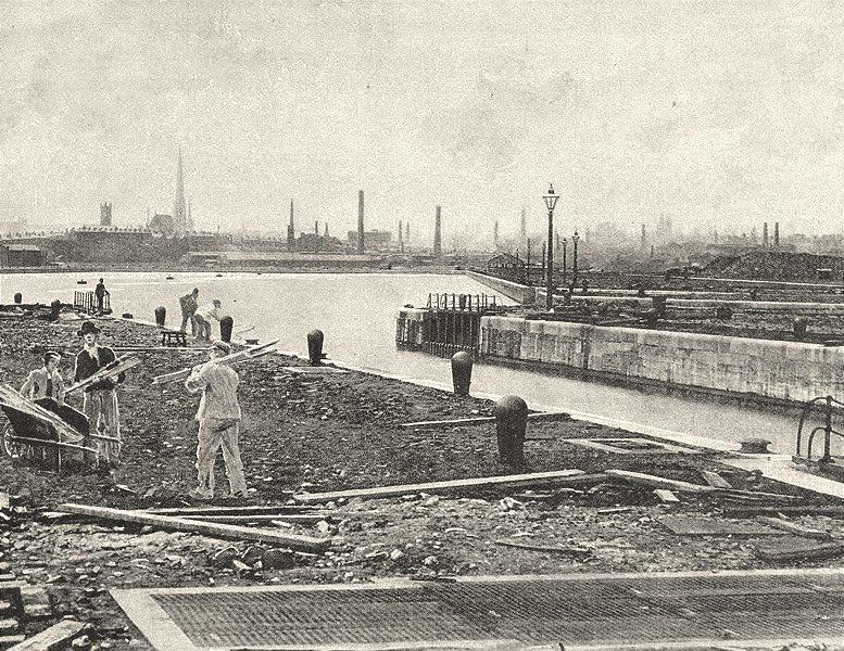 LANCASHIRE. Preston, from the West 1901 old antique vintage print picture