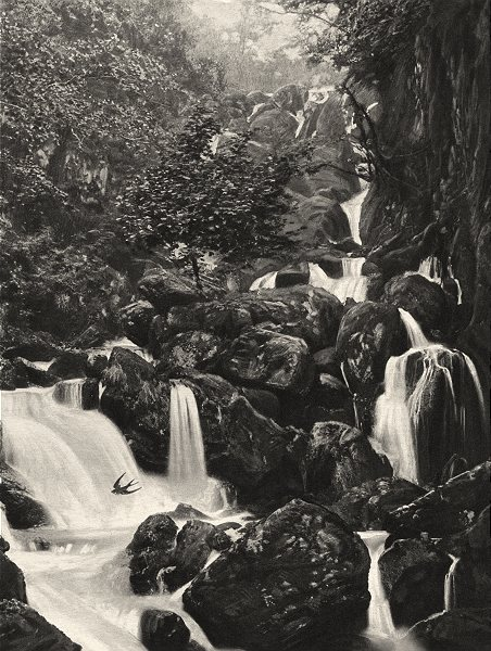 Associate Product CUMBRIA. The Falls of Lodore 1901 old antique vintage print picture