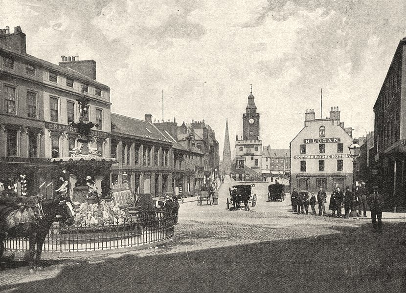 SCOTLAND. High street, Dumfries 1901 old antique vintage print picture