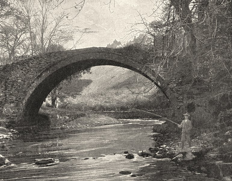 SCOTLAND. Roman Bridge near Lanark 1901 old antique vintage print picture