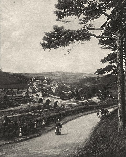 SCOTLAND. The Clyde at Kirkfieldbank from the Braes near Lanark 1901 old print