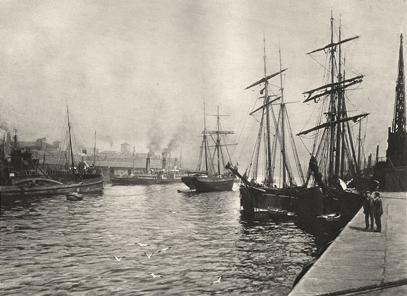 SCOTLAND. The River Clyde at Glasgow 1901 old antique vintage print picture