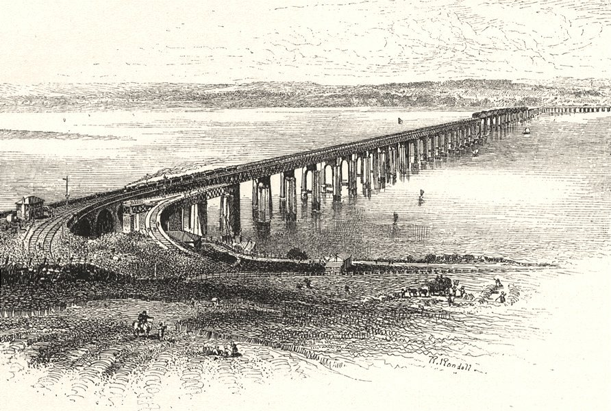 Associate Product SCOTLAND. The New Tay Viaduct, from the South 1901 old antique print picture