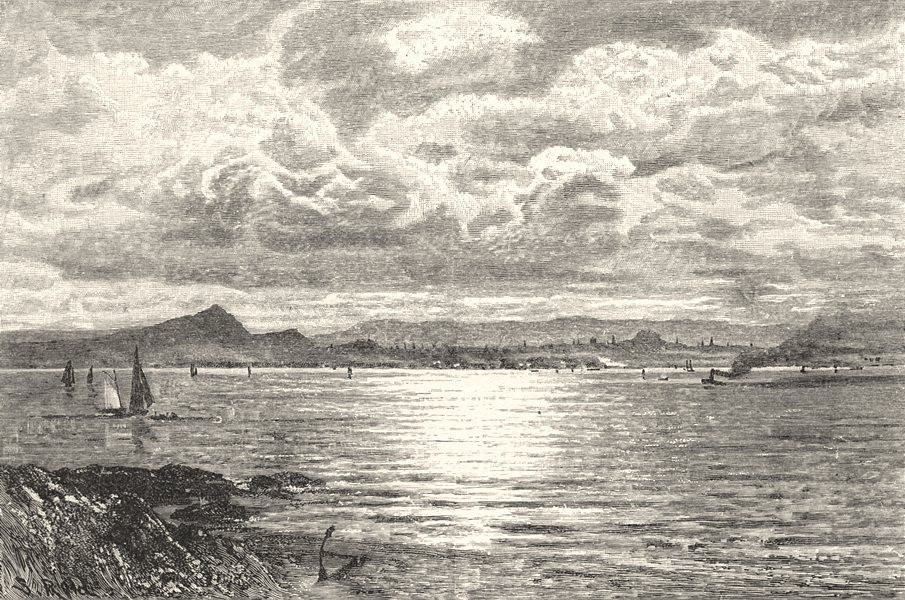 SCOTLAND. Edinburgh, from the Fife shore 1901 old antique print picture
